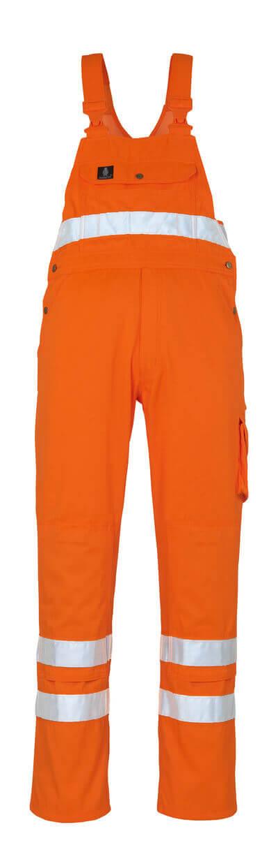 00469-860-14 Bib & Brace with kneepad pockets - hi-vis orange