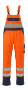 00969-860-141 Bib & Brace with kneepad pockets - hi-vis orange/navy