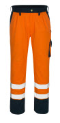00979-860-141 Trousers with kneepad pockets - hi-vis orange/navy