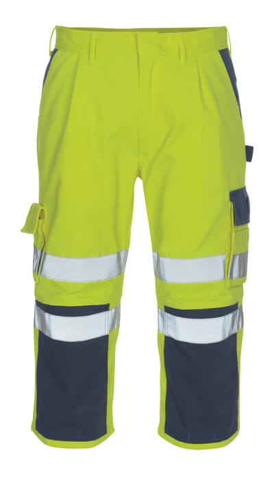 07149-470-171 ¾ Length Trousers with kneepad pockets - hi-vis yellow/navy