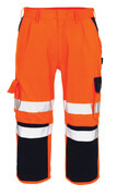 07149-860-141 ¾ Length Trousers with kneepad pockets - hi-vis orange/navy