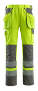 09131-470-17888 Trousers with kneepad pockets and holster pockets - hi-vis yellow/anthracite