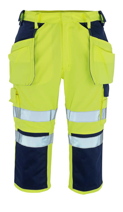 09149-470-171 ¾ Length Trousers with kneepad pockets and holster pockets - hi-vis yellow/navy