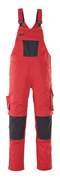 12069-203-0209 Bib & Brace with kneepad pockets - red/black