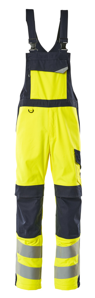 13869-216-17010 Bib & Brace with kneepad pockets - hi-vis yellow/dark navy