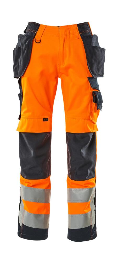 15531-860-14010 Trousers with kneepad pockets and holster pockets - hi-vis orange/dark navy