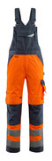 15569-860-14010 Bib & Brace with kneepad pockets - hi-vis orange/dark navy