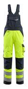15569-860-17010 Bib & Brace with kneepad pockets - hi-vis yellow/dark navy