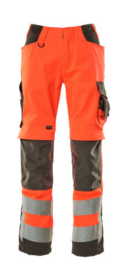 15579-860-14010 Trousers with kneepad pockets - hi-vis orange/dark navy