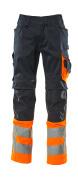 15679-860-01014 Trousers with kneepad pockets - dark navy/hi-vis orange