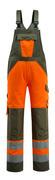 15969-948-1433 Bib & Brace with kneepad pockets - hi-vis orange/moss green