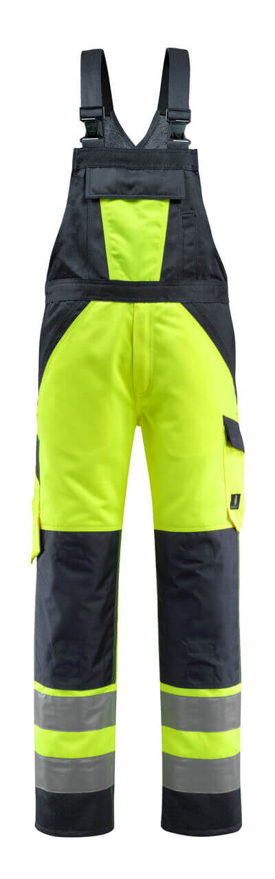 15969-948-14010 Bib & Brace with kneepad pockets - hi-vis orange/dark navy