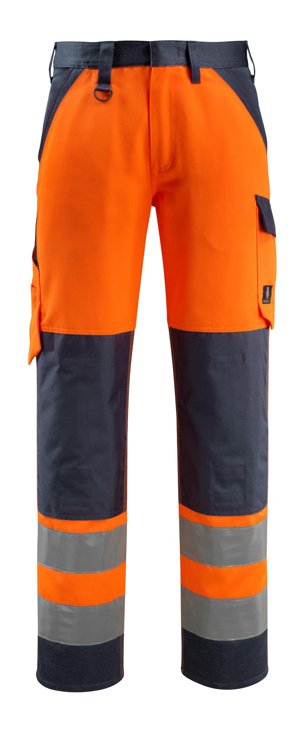 15979-948-14010 Trousers with kneepad pockets - hi-vis orange/dark navy