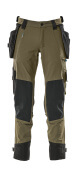 17031-311-33 Trousers with kneepad pockets and holster pockets - moss green