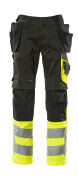 17531-860-0917 Trousers with kneepad pockets and holster pockets - black/high-visibility hi-vis yellow