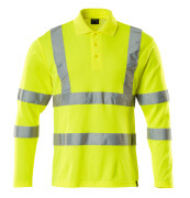 18283-995-17 Polo Shirt, long-sleeved - hi-vis yellow