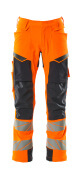 19079-511-14010 Trousers with kneepad pockets - hi-vis orange/dark navy