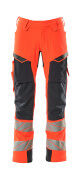 19079-511-14010 Trousers with kneepad pockets and holster pockets - hi-vis orange/dark navy