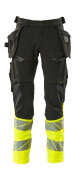 19131-711-01014 Trousers with kneepad pockets and holster pockets - dark navy/hi-vis orange