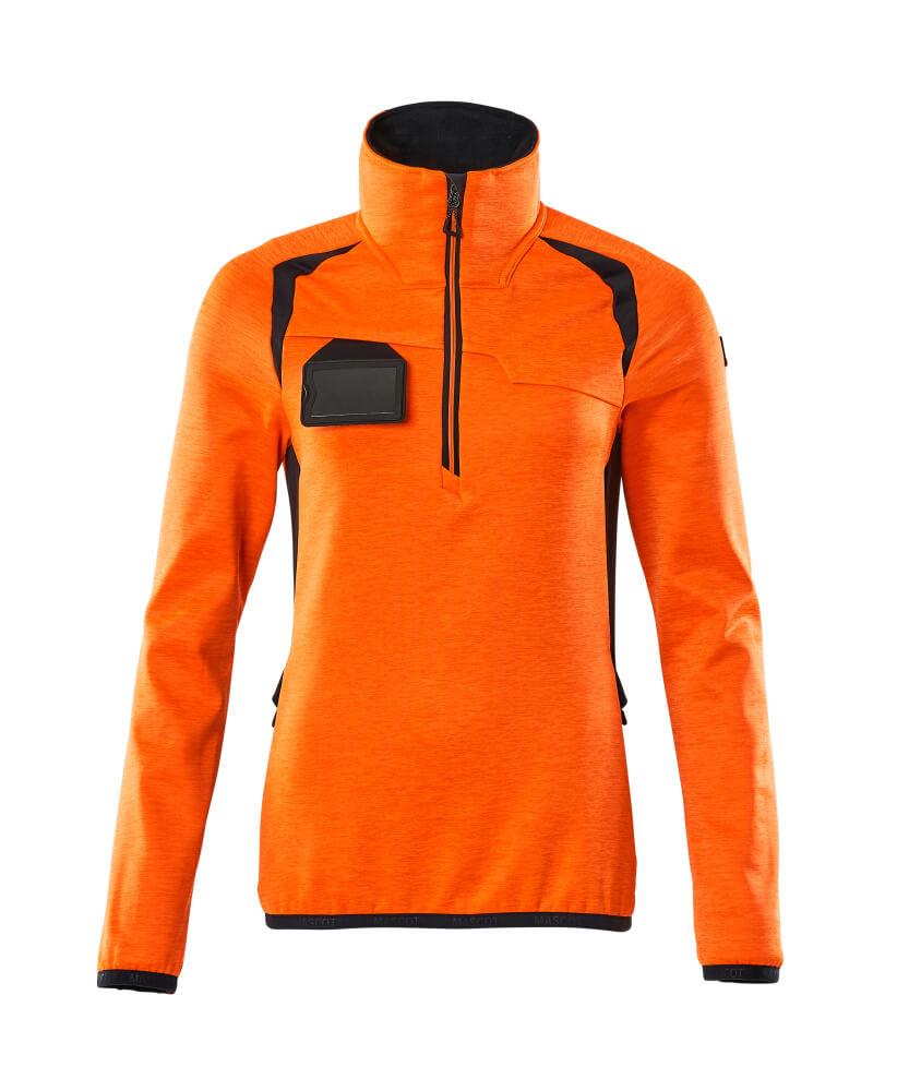 19353-316-14010 Fleece Jumper with half zip - hi-vis orange/dark navy