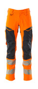19479-711-14010 Trousers with kneepad pockets - hi-vis orange/dark navy