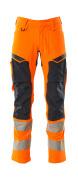 19479-711-14010 Trousers with kneepad pockets - hi-vis orange/dark navy