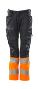 19678-236-01014 Trousers with kneepad pockets - dark navy/hi-vis orange