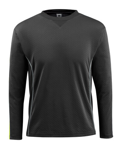 50128-933-0917 T-shirt, long-sleeved - black/high-visibility hi-vis yellow